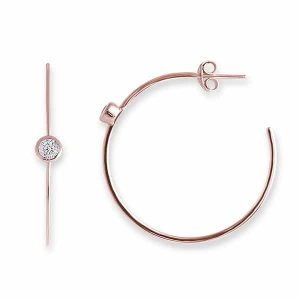 Bianc Rose Gold Hoop Earrings With Bezel Cubic Zirconia