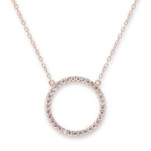 Bianc Rose Gold Cubic Zirconia Circle Necklace