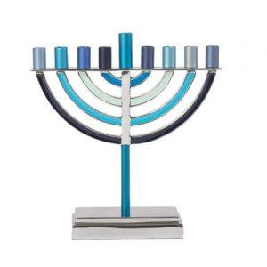 Yair Emanuel Large Classic Hanukkah Menorah - Blue