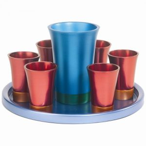 Yair Emanuel Kiddush Set - Cup + Plate + 6 cups - Anodize- Blue +Maroon +Turquoise