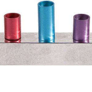 Yair Emanuel Hanukkah Menorah - Strip + Hammer Work - Multicolor