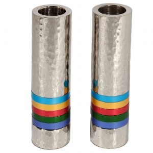 Yair Emanuel Cylinder Candlesticks - Hammer Work + Rings - Multicolor