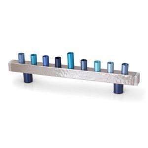 Yair Emanuel Hanukkah Menorah - Strip + Hammer Work - Blue